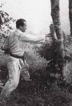 Mas Oyama training in the Woods